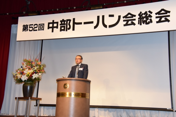 トーハン・近藤社長は返品改善施策の一つとして、AI配本について説明した