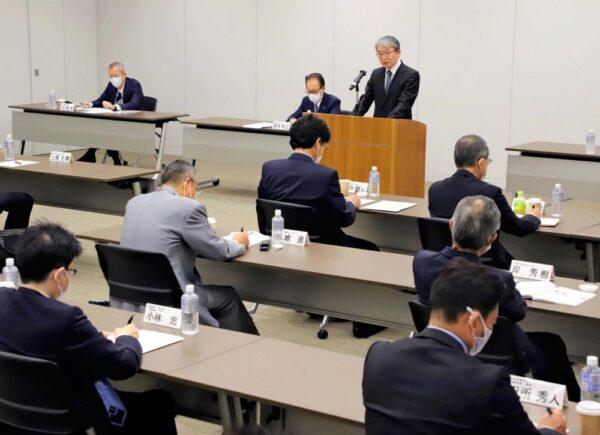 読売東京七日会正副会長会議であいさつする山口社長