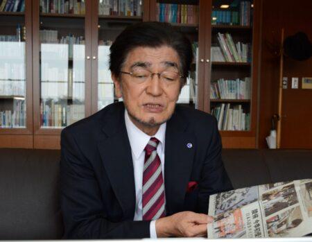 岩手日報社・東根千万億社長 新型コロナウイルス感染拡大防止のため、インタビューはオンラインで実施した(写真は岩手日報社提供)