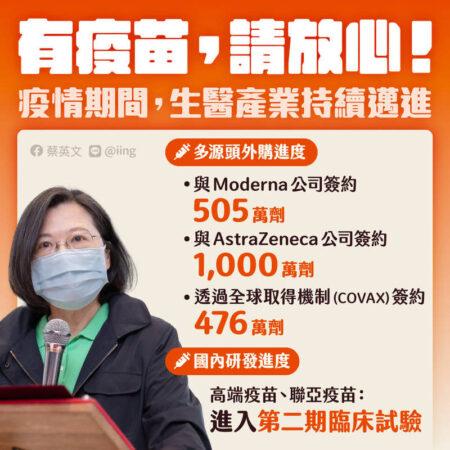ワクチン供給は十分と呼びかける 台湾のポスター